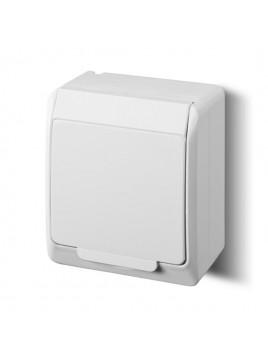 Gniazdo pojedyncze z uziemieniem natynkowe IP44 białe 0321-02 Hermes Elektro-Plast