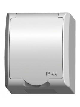 Gniazdo pojedyncze z uziemieniem natynkowe IP44 białe GNH-1HZ/00/w Fala Ospel