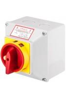 Łącznik krzywkowy 0-1 4P 25A zamykany żółto-czerwony w obudowie Next