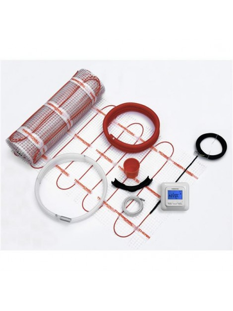 Zestaw ogrzewania podłogowego mata grzejna 0,5x8m 4m2 regulator akcesoria Thermoval