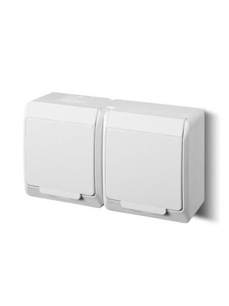 Gniazdo podwójne z uziemieniem natynkowe IP44 białe 0322-02 Hermes Elektro-Plast