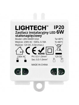 Zasilacz instalacyjny do LED 6W 12VDC IP20 Lightech