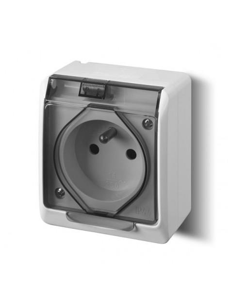 Gniazdo pojedyncze z uziemieniem natynkowe IP44 białe dymne 0321-01 Hermes Elektro-Plast