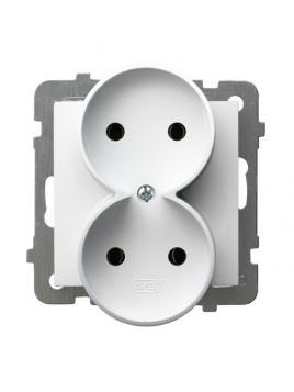 Gniazdo podwójne bez uziemienia białe GP-2GR/m/00 As Ospel