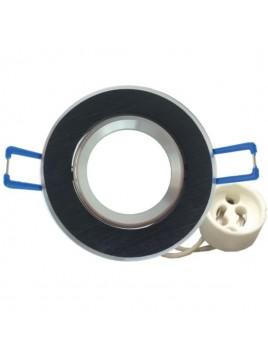 Oprawa GU10 mała okrągła czarna szczotkowana Tris