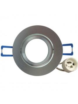 Oprawa GU10 mała okrągła srebrna piaskowana Tris