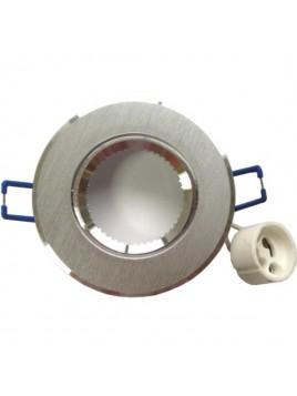 Oprawa GU10 duża okrągła srebrna szczotkowana Tris