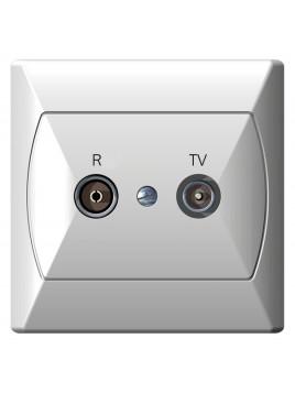 Gniazdo antenowe RTV przelotowe 10dB białe GPA-10AP/00 Akcent Ospel