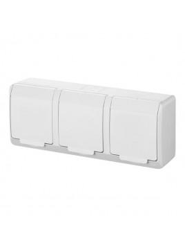Gniazdo potrójne z uziemieniem natynkowe IP44 białe 0323-02 Hermes Elektro-Plast