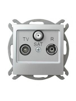 Gniazdo antenowe RTV+SAT srebrne GPA-YS/m/18 Impresja Ospel