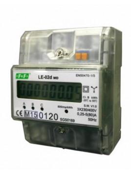 Licznik energii elektrycznej LCD na szynę 3-fazowy 63A MID LE-02d F&F