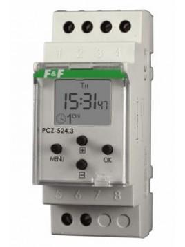 Zegar astronomiczny jednokanałowy na szynę 16A 24-264V PCZ-524 F&F