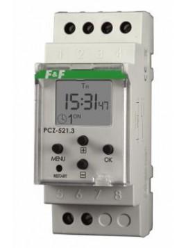 Zegar sterujący tygodniowy jednokanałowy na szynę 16A 24-264V PCZ-521 F&F