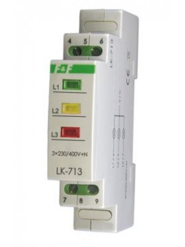 Lampka modułowa na szynę 3-fazowa 3x230V 3 kolory LK-713G F&F