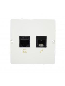 Gniazdo komputerowo-telefoniczne RJ11+RJ45 białe BMF5T.02/11 Kontakt-Simon Basic RABATY