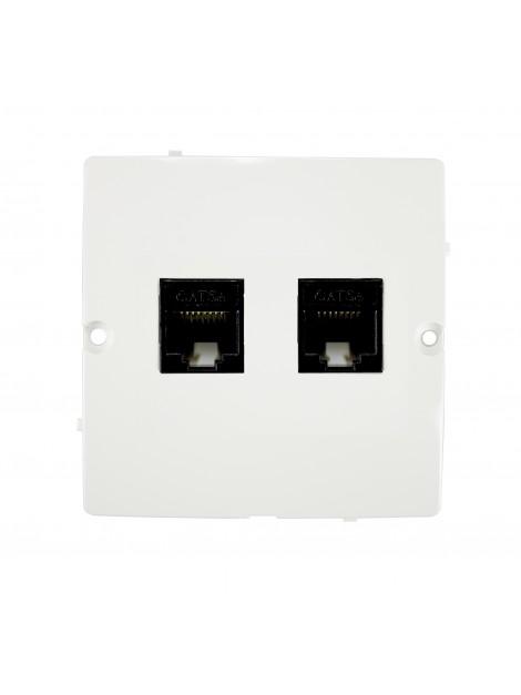 Gniazdo komputerowe RJ45 podwójne białe BMF52.02/11 Kontakt-Simon Basic