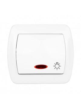 Łącznik zwierny światło podświetlany biały AS1L/11 Akord Kontakt-Simon