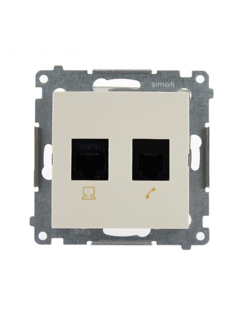 Gniazdo komputerowo-telefoniczne RJ45+RJ12 kremowe D5T.01/41 Kontakt Simon54