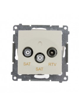 Gniazdo antenowe RTV+SAT+SAT  kremowe DASK2.01/41 Kontakt Simon54