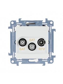 Gniazdo antenowe RTV+SAT+SAT końcowe białe CASK2.01/11 Kontakt Simon10