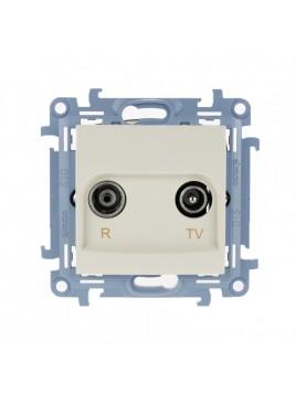 Gniazdo antenowe RTV przelotowe 10dB kremowe CAP10.01/41 Kontakt Simon10