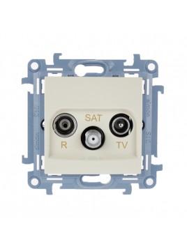 Gniazdo antenowe RTV+SAT przelotowe kremowe CASP.01/41 Kontakt Simon10