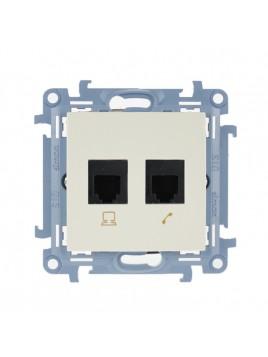 Gniazdo telefoniczne RJ12 podwójne kremowe CT2.01/41 Kontakt Simon10