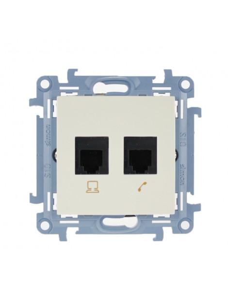 Gniazdo komputerowo-telefoniczne RJ45+RJ12 kremowe C5T.01/41 Kontakt Simon10