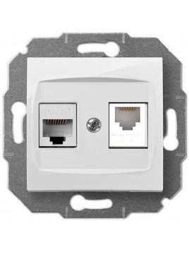 Gniazdo komputerowo-telefoniczne RJ45+RJ12 białe 1759-10 Carla Elektro-Plast