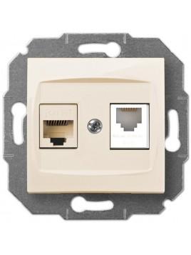 Gniazdo komputerowo-telefoniczne RJ45+RJ12 kremowe 1759-11 Carla Elektro-Plast