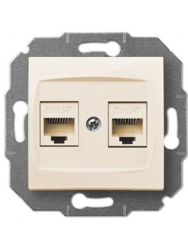 Gniazdo komputerowe RJ45 podwójne kremowe 1749-11 Carla Elektro-Plast