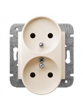 Gniazdo podwójne z uziemieniem moduł kremowe 1743-11 Carla Elektro-Plast