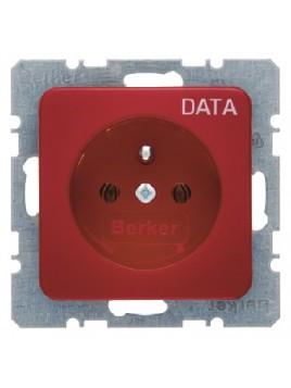 Gniazdo pojedyncze z uziemieniem data czerwone 53638085 Modul Berker