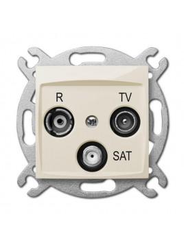 Gniazdo antenowe RTV+SAT kremowe 1753-11 Carla Elektro-Plast