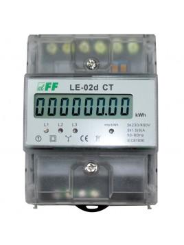 Licznik elektroniczny przekładnikowy 3-fazowy LE-02d CT 3x6A F&F