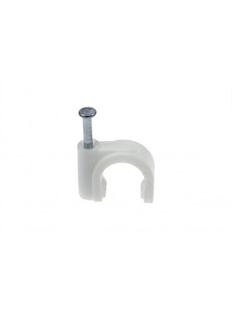 Uchwyt kablowy okrągły z gwoździem NFO-6 typu FLOP-6 biały (100 szt.) Next