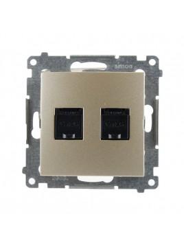 Gniazdo komputerowe RJ45 podwójne złoty mat D62.01/44 Kontakt Simon54