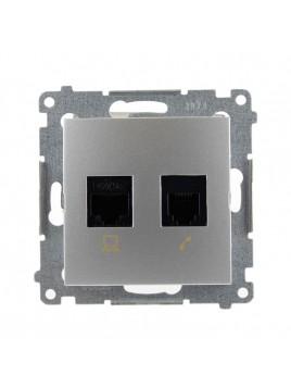 Gniazdo komputerowo-telefoniczne RJ45+RJ12 srebrne D5T.01/43 Kontakt Simon54