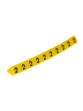 Oznacznik kablowy OZ-1 cyfra 2 żółty (100 szt.) Ergom