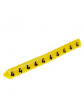 Oznacznik kablowy OZ-1 cyfra 4 żółty (100 szt.) Ergom
