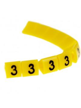 Oznacznik kablowy OZ-1 cyfra 3 żółty (100 szt.) Ergom