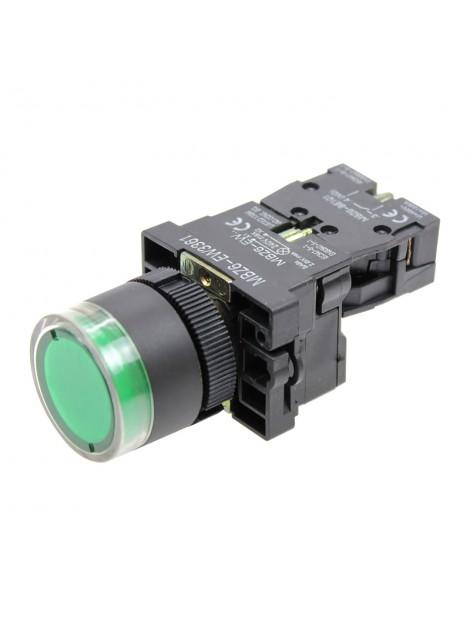 Przycisk sterowniczy podświetlany zielony 1Z 1NO fi 22 MBZ6-EW3361