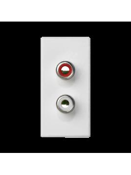 Gniazdo 2xChinch 45mm K101B9 białe CONNECT Kontakt-Simon
