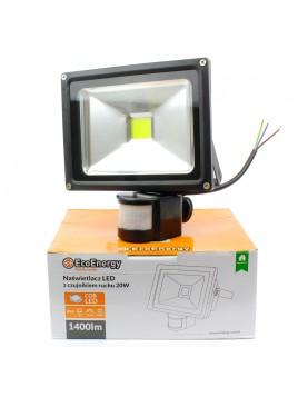Oprawa LED naświetlacz COB z czujnikiem ruchu PIR 20W Ecolux