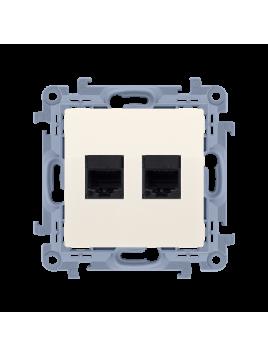 Gniazdo komputerowe RJ45 podwójne kremowe C52.01/41 Kontakt Simon10